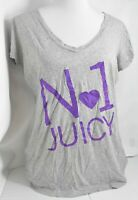 "Woman JUICY COUTURE Grey Purple T-Shirt Short Sleeve ""No1 Juicy"" Junior Size XL"
