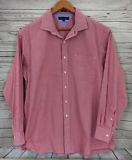 Tommy Hilfiger Shirt Size 17 1/2 Men long sleeve red white checks button down