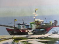 abstract boat boats large oil painting canvas sea ocean fishing original art
