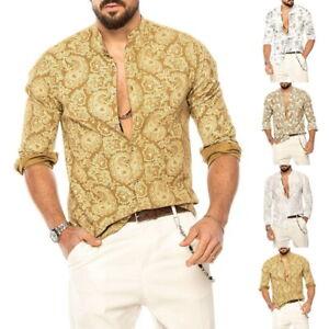 Herren Shirt Retro Print Bluse Freizeithemden Sommerhemden V-Ausschnitt Kleidung