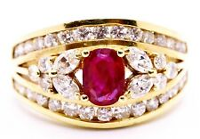 2.21 CARATS RARE BURMA RED RUBY & DIAMONDS CLASSICAL 14 KT YELLOW GOLD RING