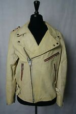 Men's Vintage 1970's Leather Motorcycle Bikers Jacket Luftwaffe L 44UK EU54