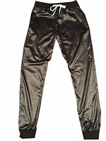 MENS WET LOOK SHINY SPORTS GYM RUN TRACKSUIT CUFFED SHORTS JOGGERS PANTS S - 4XL