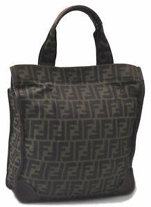 Authentic FENDI Zucchino Tote Bag Nylon Leather Brown C6722