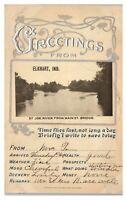 Greetings from Elkhart, IN St. Joe River from Main Street Embossed Postcard *6E3