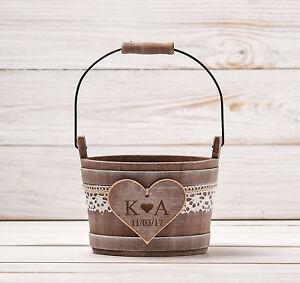 Personalized Flower Girl Basket Rustic Wedding Bucket Wedding Basket