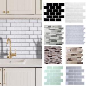 3D Self Adhesive Wall Tile Stickers Brick Design Kitchen Bathroom Mosaic Decor
