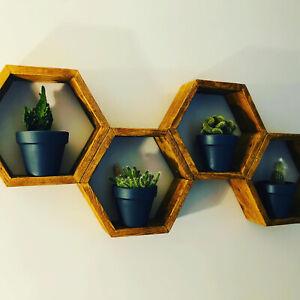 Rustic Hexagon Honeycomb Shelf Pallet Shelve Handmade MJCrafting