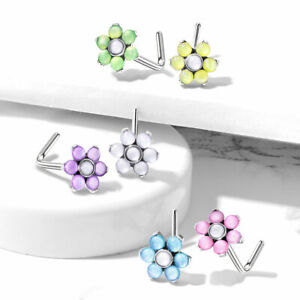 1pc Illuminating Stone Flower L-Bend 20g Nose Ring Stud Screw Surgical Steel