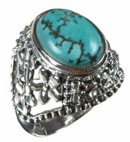 925 Solid Sterling Silver Ring Natural Turquoise Color Blue US Size 7 R-3017