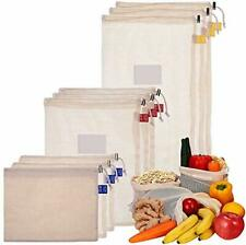 Reusable Mesh Produce Bags - Organic Cotton Produce Bags with Tare Weight Tags