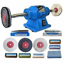 "6"" Bench Grinder 150W Bench Polisher With 4"" Metal Polishing Kit Machine"