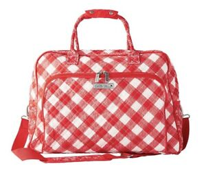 NEW THE PIONEER WOMAN TRAVEL TOTE BAG CHARMING CHECK CARRY ON LUGGAGE RED PLAID
