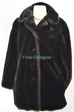 TISSAVEL France Genuine Faux Mink fur plush Coat jacket warm SZ S M VTG Vintage