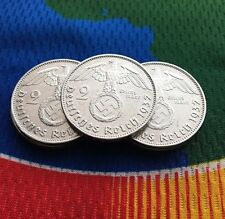 1937 G 2 Mark WWII German Silver Coin (1) Third Reich Swastika Reichsmark