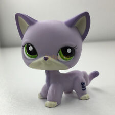 Littlest Pet Shop Purple White Shorthair Cat LPS#2094 Green Eyes Kitty Rare Toys