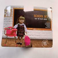 Doll Back to School Set - Desk ,Supply for Dolls and Uniform Clothing Fits