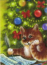 CAT WRITES CHRISTMAS WISH LIST  Modern Russian postcard by I.Garmashova
