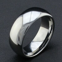 8Mm Tungsten Carbide Comfort Fit  Ring Band Silver High Polish Mens Jewelry