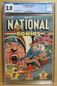 NATIONAL COMICS #12 CGC 2.0 CLASSIC LOU FINE UNCLE SAM COVER QUALITY 1941 RARE
