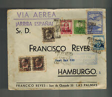 1937 Las Palmas Spain Civil War Local Issue Cover to Hamburgo