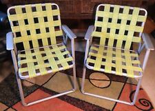 Vintage Aluminum Lawn Chair Set of 2 Retro Yellow and Blue Webbed Lounge Chairs