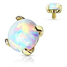 New Internally Threaded 14ct Gold Dermal Anchor Head Labret Top with Opal Stone