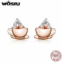 Wostu Elegant Coffee 925 Sterling Silver Rose Gold Earrings Stud Women Jewelry