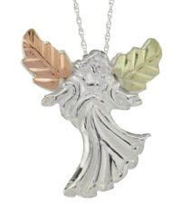 Black Hills Gold Sterling Silver Angel Ladies Religious Pendant Necklace