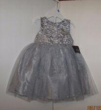 HOLIDAY EDITIONS GIRLS SILVER ZIG ZAG GLITTER NETTING DRESS 3T  NWT +