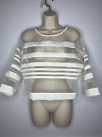 Mustard Seed White Sheer Striped Blouse Top Sz M