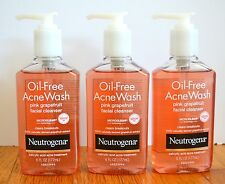 3 Neutrogena Oil Free Acne Wash Facial Cleanser Pink Grapefruit 6oz