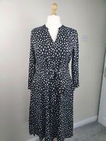 HOBBS Black and White Polka Dot Midi Button Up Dress with Tie Waist Size 16