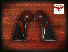 RUGER BISLEY OXBLOOD GRIPS ~ SERPENTINE CHECKERING + SILVER LIBERTY EAGLES