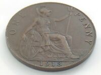 1913 Great Britain United Kingdom One 1 Penny Circulated Coin Edward VII J178