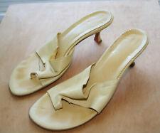 CHRISTIAN LOUBOUTIN Tan Leather Thong Toe Slip On Slides Sandals 37.5