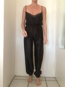 Vintage Back Nylon Jumpsuit With Elastic Lace Ankles And Elastic Waist Small