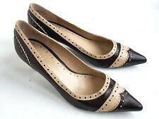 PreOwned ENZO ANGIOLINI Mid Heels Size 6.5 Brogues BROWN BEIGE Leather Shoes