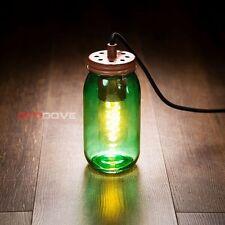 Vintage green mason Jam Jar plug pendant lamp + Edison bulb + free P&P
