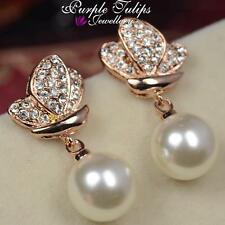 18CT Rose Gold Plated Butterfly Pearl Stud Earrings Made With Swarovski Crystal