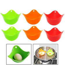 6pcs Egg Poacher Silicone Poaching Cups Boil Microwave Stove Top Cook Eggs NEW