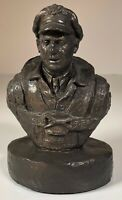 "Michael Garman Sculpture US Air Force Pilot 5.75"" Tall Bronze Look Hand Made '85"
