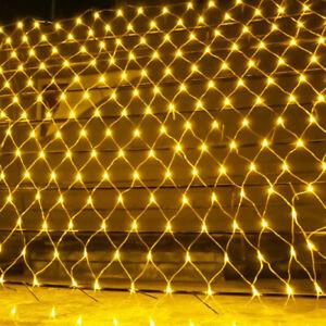 Solar Powered LED Net Mesh String Fairy Lights Xmas Garden Outdoor Wedding Party