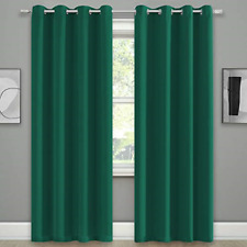 Dark Green 108 Inch Curtains Blackout 2 Panels for Living Room Top Grommet Room