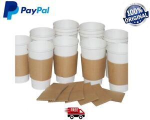 10-2000 Cup Sleeve Sleeves Coffee cup Brown Kraft Cardboard Paper cups 8,12,16oz