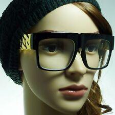 RETRO Gold Chain Rapper Square Frame Trendy Clear Lens Eye Glasses BLACK NEW