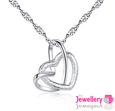 925 Sterling Silver Open Double Heart Pendant Necklace Chain Womens Ladies Gift