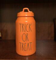 Rae Dunn LL Orange Halloween TRICK OR TREAT Canister