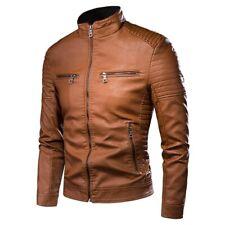 New Motorcycle Causal Vintage Fashion Biker Zipper Pocket PU Leather Jacket