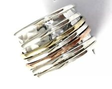 Tricolor Hand Hammered Sterling Silver Copper Brass Spin Ring Band Size 6 R2